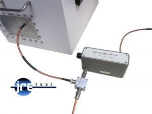 JRE Test picture of using a power combiner to add in an extra interfering signal and a step attenuator to adjust desired signal.