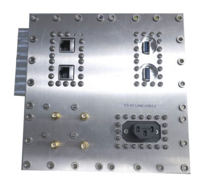JRE Test C3-AC-LAN2-USB3-2 Populated I/O plate rear view
