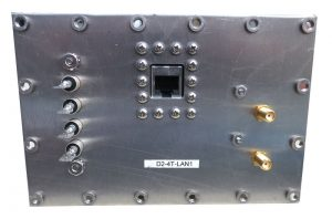 JRE Test D2-4T-LAN1 populated I/O plate rear view
