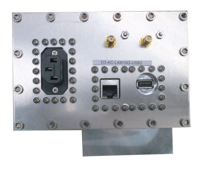 JRE Test D3-AC-LAN10G-USB2 populated I/O plate rear view