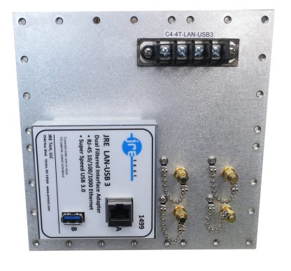 JRE Test C4-4 term-LAN-USB3-front view populated I/O plate